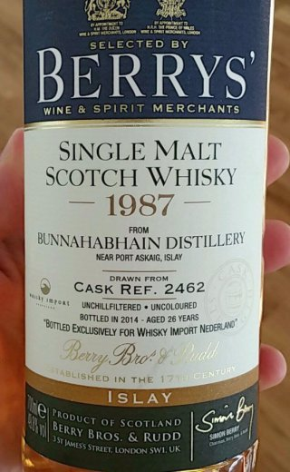 Bunnahabhain 1987 26 Year Old Cask 2462 - Berry Bros & Rudd. Exclusively for Whisky Import Netherlands (WIN)